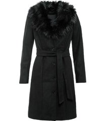 cappotto con collo in ecopelliccia (nero) - bodyflirt