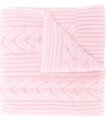 n.peal cable-knit cashmere scarf - pink