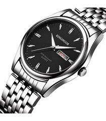 orologi impermeabili del quarzo dell'acciaio inossidabile 30m della data luminosa degli orologi d'argento degli uomini classici