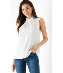 yoins white button keyhole design stand collar with lining tank