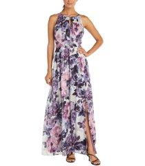 r & m richards floral-print gown