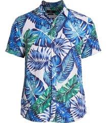 camisa areia branca slim fit floral maui estampada azul
