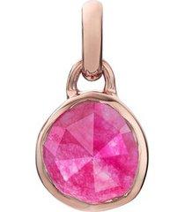 rose gold siren mini bezel pendant charm pink quartz