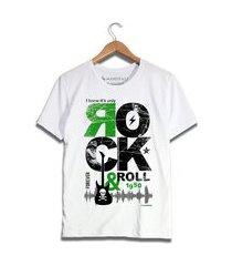 camiseta rock in roll branca
