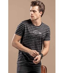 camiseta svk stripe moulinê - listrada preto e cinza