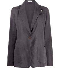 brunello cucinelli one-button silk blazer - grey