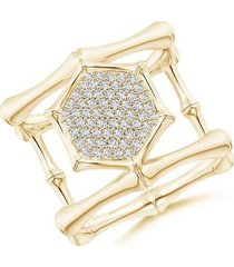 natori indochine 14k pave diamond hexagon center double bamboo band cocktail ring, women's, size 6.5 fine jewelry