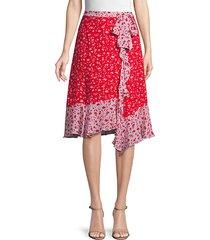 collins floral ruffle asymmetric skirt