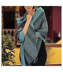 100% alpaca shawl, 'turquoise whisper' (peru)