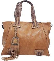 bolsa grande de ombro fanlice alça trançada marrom - kanui