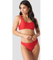 na-kd swimwear ribbed sporty bikini bottom - red