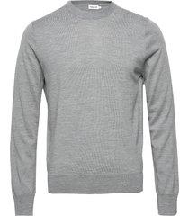m. merino sweater gebreide trui met ronde kraag grijs filippa k