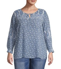 vince camuto women's plus mixed-print top - navy - size 1x (14-16)