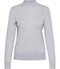 wool silk mock-nk sweater ls stickad tröja grå tommy hilfiger