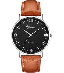 reloj pulso cuero pu cuarzo dial grande clasico gnv-r marron plateado