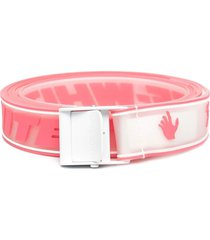off-white woman industrial classic belt in white and pink rubber