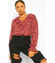 geweven dierenprint blouse met ruches, pink