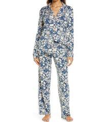 women's nordstrom lingerie moonlight pajamas, size medium - blue