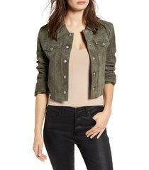 women's blanknyc crop suede trucker jacket