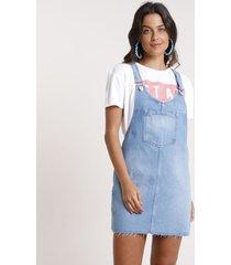 salopete jeans feminina com bolsos azul médio