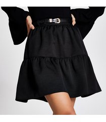 river island womens black belted tiered mini skirt