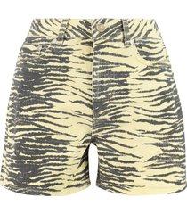 ganni printed cotton shorts