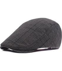 uomini donne cotone casual griglia beret cappello newsboy regolabile beret cappello