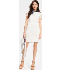 tommy hilfiger women's lace overlay romper white - 10