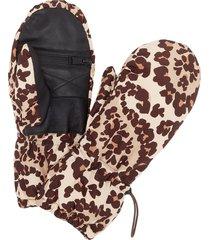 fendi leopard snow gloves - brown