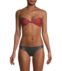 mikoh swimwear women's carmel knot bikini top - rust - size xs