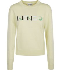 kenzo logo embroidered ribbed sweater