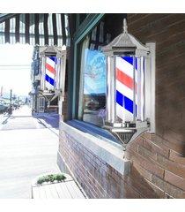 uk plug peluquería de pole giratorios rayas leves inscripción estilos hair salon nueva rojo blanco azul negro multic 70 * 26 * 20 cm - blanco