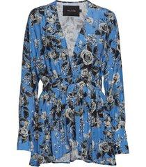 afton blouse blus långärmad blå raiine