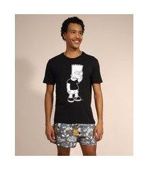 pijama masculino bart simpson manga curta preto
