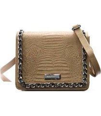 bolsa couro maria verônica transversal com corrente feminina