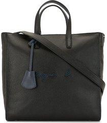 agnès b. logo embroidered tote bag - black