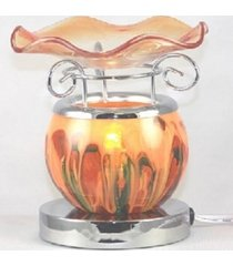 orange round lava glass touch lamp oil/tart warmer - use with scentsy wax