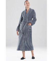 natori plush jacquard geo sleep & lounge bath wrap robe, women's, size s natori