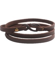 pulsera de hombre cuero marrón leather man colection by vestopazzo