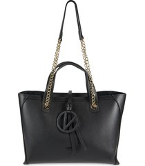 valentino by mario valentino women's kate dollaro textured leather pouch & tote - black