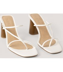 na-kd shoes fine strappy block heel sandals - white