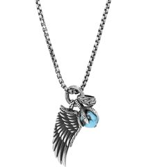 'legends eagle' turquoise pyrite silver pendant necklace