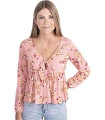 blusa rosa manga larga con estampado de flores flashy