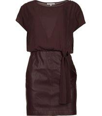 jurk met faux leather rok rita  paars