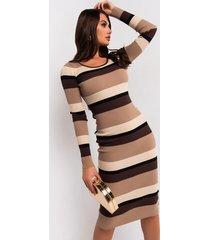 akira nudes on nudes stripe ribbed sweater dress