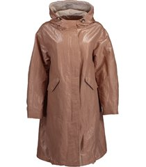 long metallic taffeta hooded jacket