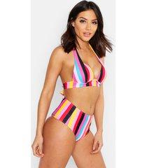 mix & match rainbow stripe push up bikini top, pink