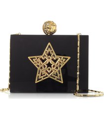 maissa designer handbags, black plexiglass lady rockstar clutch w/chain strap