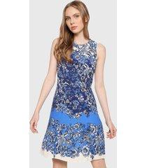 vestido azul-blanco desigual