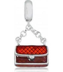 berloque bolsa vermelha em prata 950